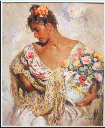 Manton de Manilla E Flores Original Oil on Canvas Painting Fine Art by Jose Royo