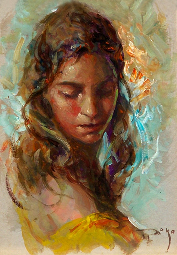 Maria Original Oil on Canvas Painting Fine Art by Jose Royo
