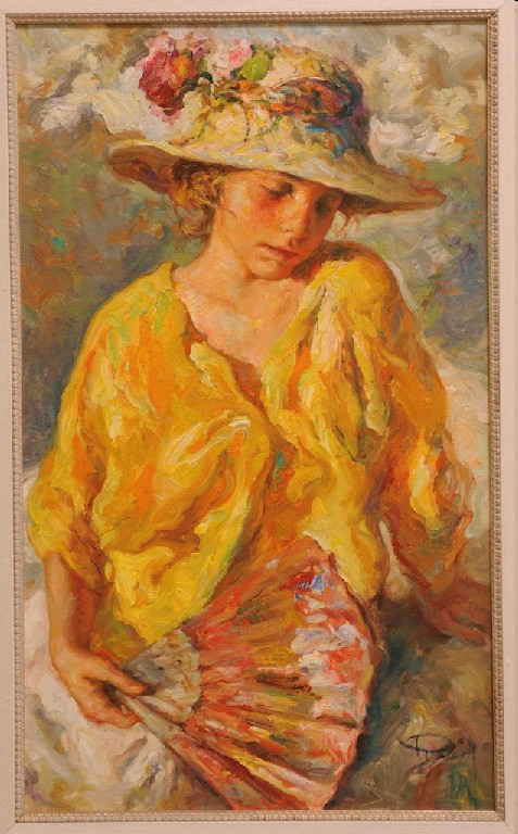 Nina Con Abanico Original Oil on Canvas Painting Fine Art by Jose Royo