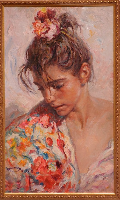 The Shawl Suite - Claveles II Original Oil on Canvas Painting Fine Art by Jose Royo