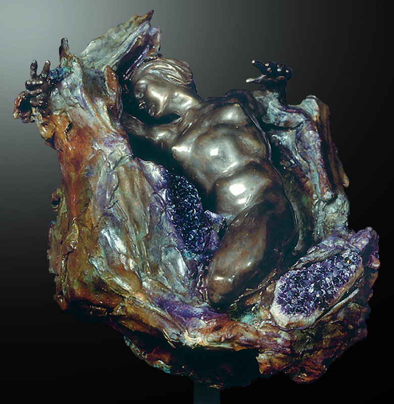 M.L. Snowden - amethyst geode central Bronze Sculpture