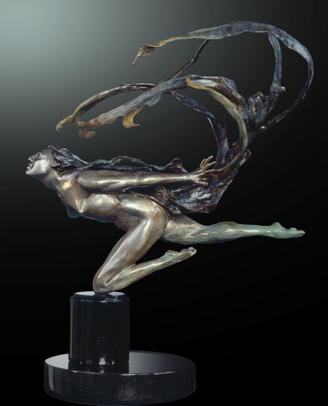 M.L. Snowden - Wind Scarf Bronze Sculpture