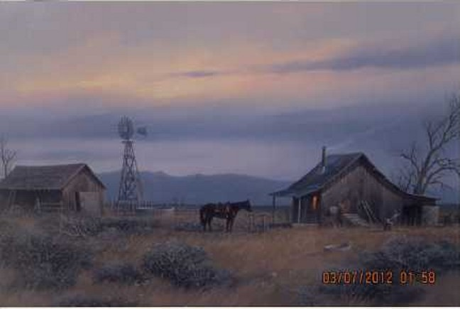 Gene Speck - Cowboy Cabin - original oil on canvas painting