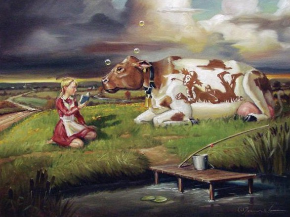 Glen Tarnowski - A GOOD STORY 19 x 25 Original Oil on Canvas