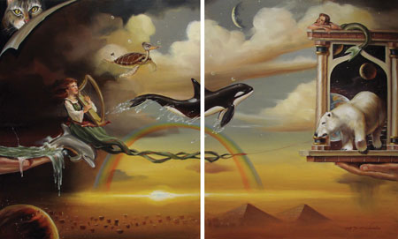 Glen Tarnowski - FROM GLORY TO GLORY 24 x 30 Diptych Original Oil on Canvas