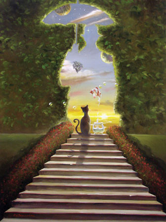STAIRWAY TO HEAVEN 39 x 29 Original Oil on Canvas