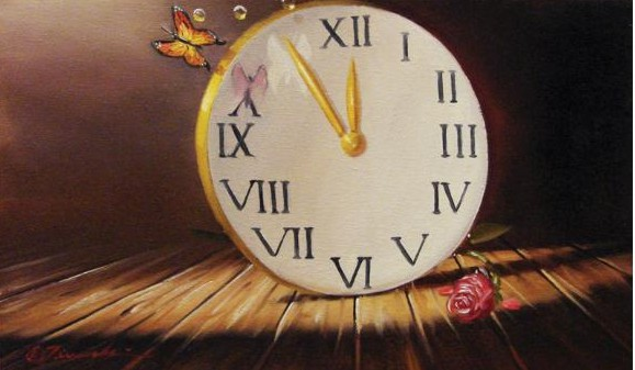 Glen Tarnowski - TIME IS TICKING 11.5 x 19 Original Oil on Canvas