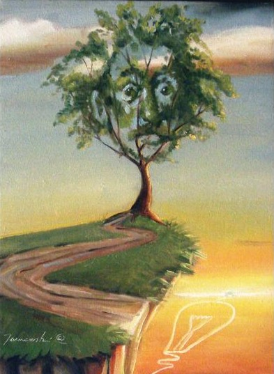 Glen Tarnowski - TREE OF IMAGINATION 14 x 11 Original Oil on Canvas  by Glen Tarnowski